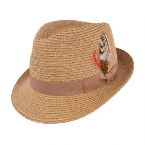 Straw Trilby Hat with Removable Feather - Brown